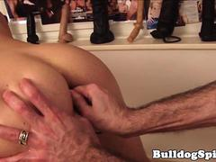 Beaded stud toyed in ass before analfucking