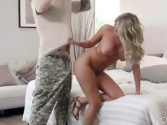 Athena is moaning from pleasure while being fucked