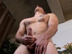 Hunky homosexual Mack has fun with his erect monster