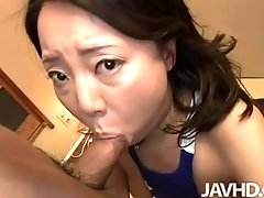 Horny housewife Sachiko puts on a swimsuit and a younger man pounds her pussy for her efforts.