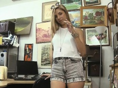 Blonde Slut Strip Tease And Finger Bang In Pawn Shop