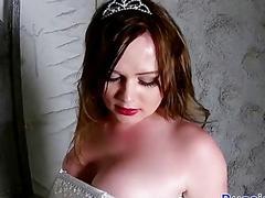Curvy redhead Russain TS masturbates solo on a metal chair