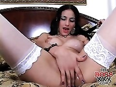 Cute Latina in braces and stockings fucked