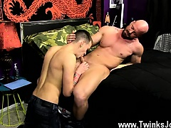 Gay orgy Chris gets the jizz fucked out of him while he's on