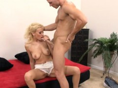 Alluring blonde slut with nice tits sucks cock and takes a rough fucking