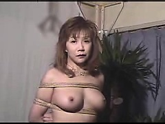 Bondage fetishist puts her big breasts and her hairy slit o