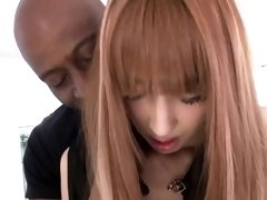 Japanese model in stockings rides bbc