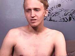 Blond twink solo toying his tight ass and tugging his cock