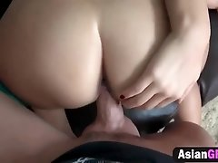 Asian girlfriend humping on thick white cock makes her tight pussy water