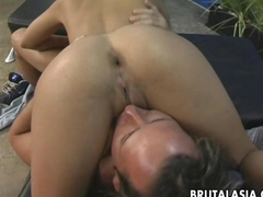 Blonde Asian whore rides the dick so she cums selfishly