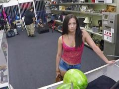 Hot babe fucked by pawn guys big cock