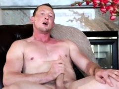 Amateur jock wanking on couch at home
