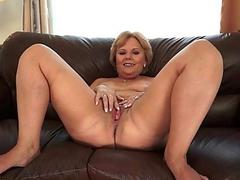 Chubby grandma getting fucked hard on the couch