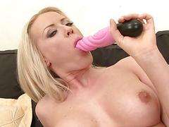 Gangbanged babe anal fucking pussy DP and swallows