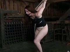 Lezdom mistress toys her tied up lesbian slave BDSM porn