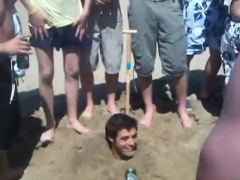 Lads piss hzaing a partner at seaside