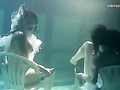 Pretty girls hold weights to stay underwater