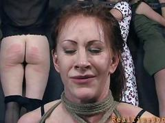 Girl receives wild punishment for her bald cunt