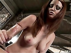 Nikki Rhodes handjob for a big cock is wicked sexy