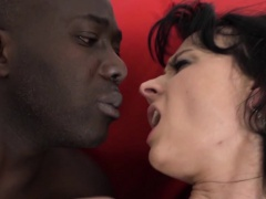 Milf licks her lips and swallows the black man cumshot