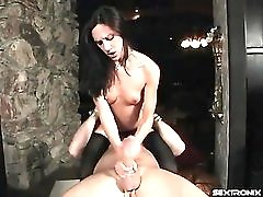 Stroking and sucking cock while sitting on him