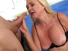 Sexy Granny Sara Skippers Measures a Guys Dick and Then Fucks Him