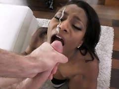 A pink dildo on Lexi Rose's mouth and pussy