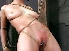Blonde woman got her pussy lips destroyed bondage BDSM movie