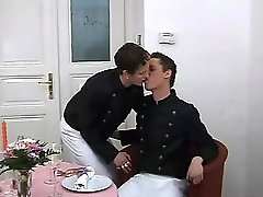 Twink threesome sex scene with a hot rimjob