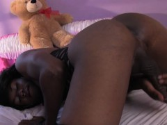 Ebony femboy jerking cock until gooey cum