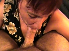 Mature brunette wife takes a POV cock deep down her throat