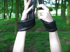 Redhead bondage slut dragged into a dungeon for punishment BDSM
