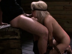 blindfolded and strapped blonde