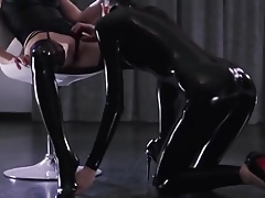 Latex Domina rides her sub