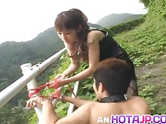 Tomoka Matsunami fucks man in mouth and ass with strap on ou