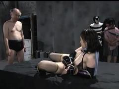 Helpless Japanese slut in lingerie gets used by kinky guys