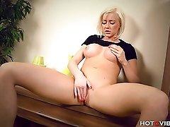Slim blonde babe having fun
