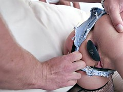 Blonde's face is covered in cum after the double penetration