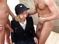 Mature lady in retro uniform pleasures classic hardcore threesome fuck
