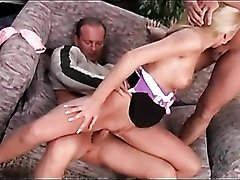 Double penetration of a blonde in high heels