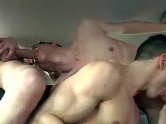 horny and attractive studs have hot threesome sex in a car