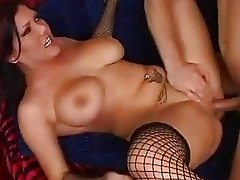 Nasty dark haired babe with big tits gets fingered and slammed