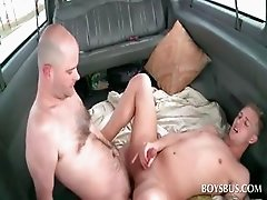 Gay butt fucking in the bus with horny guys