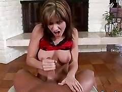 Naughty blonde bitch jerks off massive meat rod