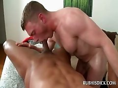 Gay sucking craving cock in bed