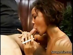 Horny tattooed asian sucking cock part3