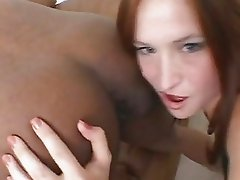 Ass lover Ashley Haze tongues a black butthole and sucks a long shaft