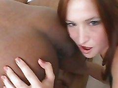 Ass lover Ashley Haze tongues a black butthole and sucks a long shaft